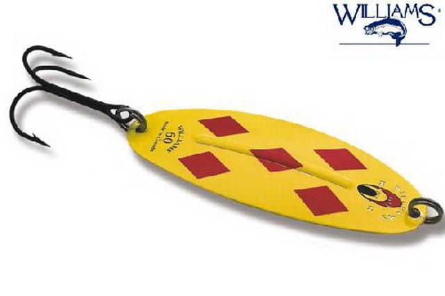 Провоцирующая расцветка блесны на щуку Вильямс Ваблер для ловли в мутной воде.